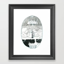 Skeleton Tarot Ace of Knives Framed Art Print