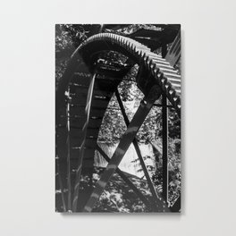 Lake Louise Water Mill Weaverville, NC Black and White Metal Print