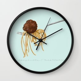 Spaghetti and Meatball Illustration by Deb Jeffrey Wall Clock