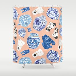 Chinoiserie Curiosity Cabinet Toss 1 Shower Curtain