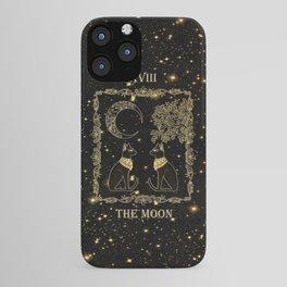 "Tarot ""The moon"" - gold - cat version iPhone Case"