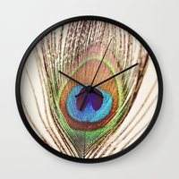 peacock Wall Clocks featuring Peacock by Laura Ruth