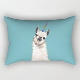 Unicorn Llama Blue Rectangular Pillow