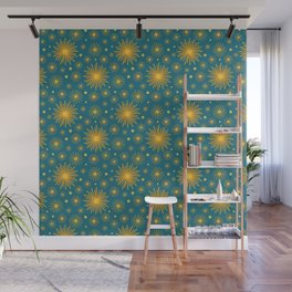 Abstract Hand-painted Golden Fireworks, Vintage Festive Pattern with Beautiful Acrylic Texture, Gold and Blue Teal Color Wall Mural