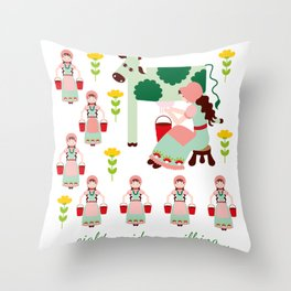 12 Days of Christmas - Eight Maids a Milking Throw Pillow