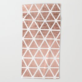 Geometric faux rose gold foil triangles pattern Beach Towel