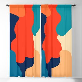 Retro 70's and 80's colorful fluid abstraction Blackout Curtain
