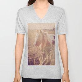 Horse in Springtime Sun Unisex V-Neck
