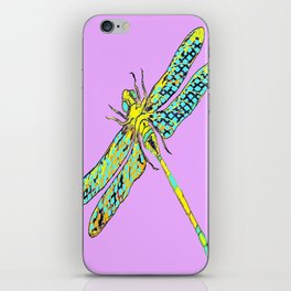 Yellow & Aqua Fantasy Dragonfly in Ambient Lilac-Pink  iPhone Skin