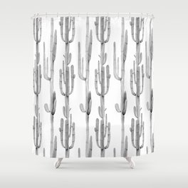Cactus Climb Black and White Shower Curtain