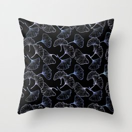 Ginkgo Leaf (Black Glow) - Titanium Throw Pillow