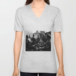 Outlaw Bikers, Motorcyclists, Red Square 1920's Motorcycle black and white photography / photograph Unisex V-Neck