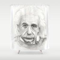 einstein Shower Curtains featuring Albert Einstein by Olechka