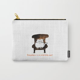 Everywhere is a Scratching Post (Orange) Carry-All Pouch