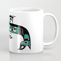 native american Mugs featuring Native American Orca by Steven Womack