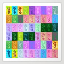 Rainbow Seahorses Art Print