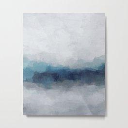 Indigo Navy Ocean Horizon, Sky Gray Blue Abstract Nature Ocean Rainy Cloudy Sunrise Water Art Print Metal Print