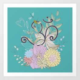 Bohemian Pastel Flower composition with  OM symbol Art Print