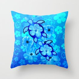Tropical Hibiscus Flowers And Honu Turtles Throw Pillow