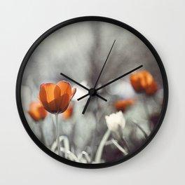 Orange Grey Tulip Photography, Burnt Orange Tulip Flowers Photo Wall Clock