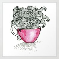 coffe Art Prints featuring Coffe Dots by Beatriz Rodriguez