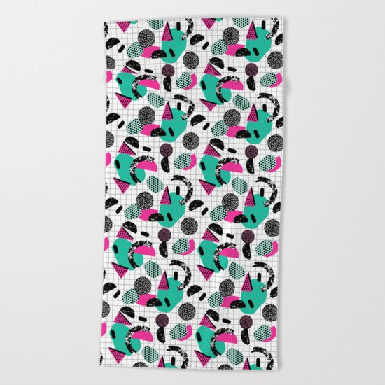 Cha Ching - abstract throwback memphis retro 80s 90s pop art grid shapes Beach Towel