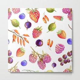 hand drawn oil berries Metal Print