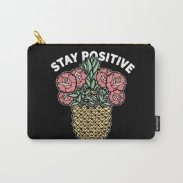 Stay Positive Floral Pineapple Carry-All Pouch