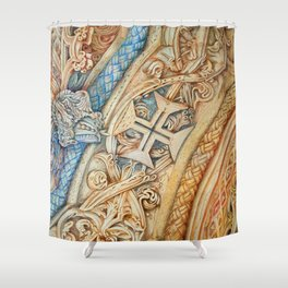 Mosteiro da Batalha. Monastery. Stone art . details. Shower Curtain