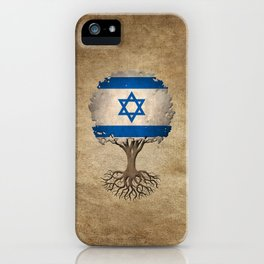 Vintage Tree of Life with Flag of Israel iPhone Case