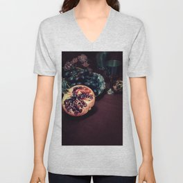 Still life with grapes and pommegranate Unisex V-Neck