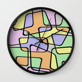 Mid Century Pastel Art Wall Clock