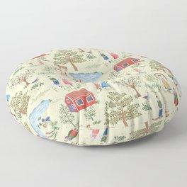 Swedish Folk Art - Midsummer Floor Pillow