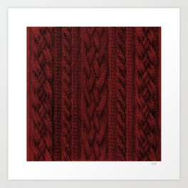 Cardinal Red Cable Knit Art Print