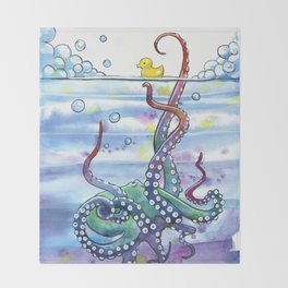 Bath Time Octopus Throw Blanket