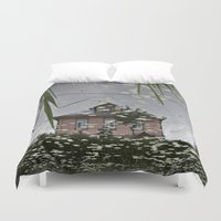 russia Duvet Covers featuring Suzdal, Russia. House Reflection by Brandon Beacon Hill