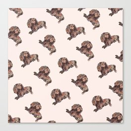 Dog Pattern 2 on Girly Pink Canvas Print