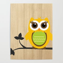 Owl on Branch Wood Background Poster