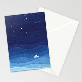 Falling star, shooting star, sailboat ocean waves blue sea Stationery Cards
