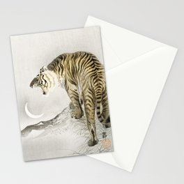 Old Vintage Illustration Of Tiger Roaring At The Moon Stationery Cards