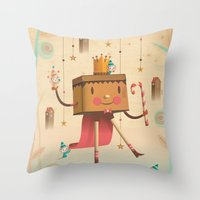 king Throw Pillows featuring KIng by Cristian Turdera
