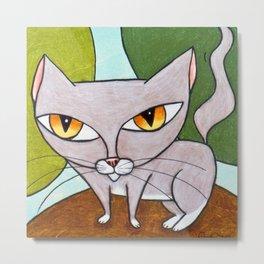 Sweet Gray Kitty Metal Print