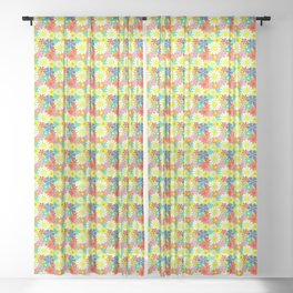 Retro Hippie Daisies and Flowers Pattern Sheer Curtain
