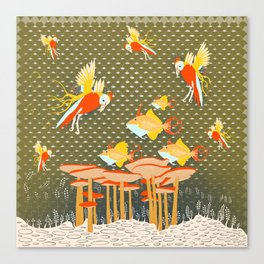 Birds over fishes over mushrooms ...who will win ? Canvas Print