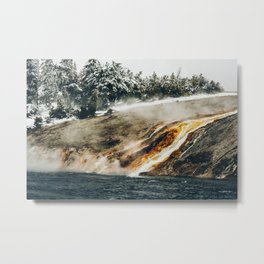 Boiling Water Flowing into Freezing Cold River, Yellowstone National Park Metal Print