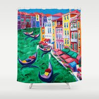 italy Shower Curtains featuring Venice, Italy by BOYAN DIMITROV