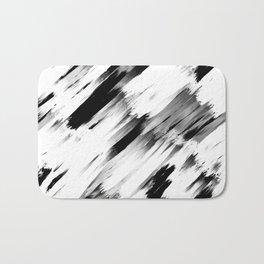 Modern Abstract Black White Brushstroke Art Bath Mat