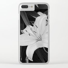 Contemporary Black White Lily Flower Floral Art A116 Clear iPhone Case