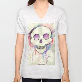 Watercolor Skull by Presley Wells Unisex V-Neck