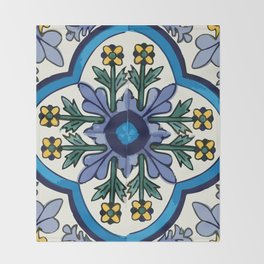 Talavera Mexican tile inspired bold design in blues, greens, and yellows Throw Blanket